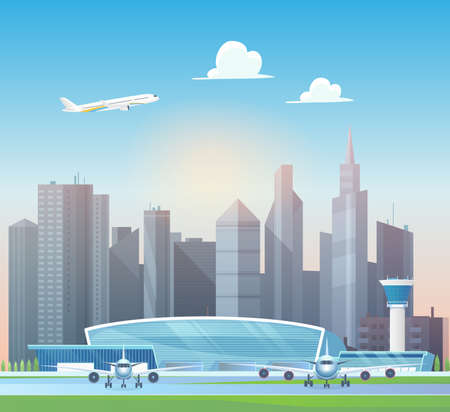 Modern airport terminal, airplane taking off into sky above office skyscrapers vector illustration. Cartoon aeroplanes stand on airfield runway, control tower buildings, airport structure background Ilustração