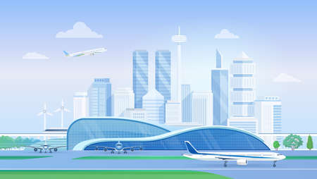 Airport terminal with airplanes, modern city skyline vector illustration. Cartoon urban panorama cityscape with airlines architecture, aircrafts on runway, towers of business skyscrapers background