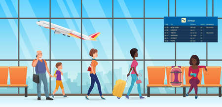People passengers in international departure airport terminal interior vector illustration. Cartoon family tourist characters walking, talking by phone, waiting and sitting in chairs background Ilustração