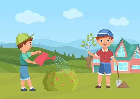 Happy children water plants in summer green garden or park vector illustration. Cartoon child gardener character holding tree sapling, preschool boy watering bush, agriculture activity background