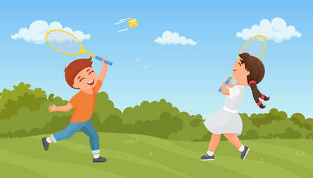 Kids play tennis in summer park vector illustration. Cartoon excited boy girl player characters training, playing sport game together outdoors, holding rackets, active healthy lifestyle background Ilustração