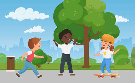 Happy children have fun together in city park, kid skate boarding vector illustration. Cartoon boy child characters play game, girl in helmet playing skateboard, healthy sport activity background