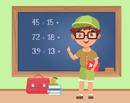 Kid boy student studying math in classroom, education vector illustration. Cartoon schoolboy standing at blackboard to write mathematical exercise, elementary school pupil on math lesson background