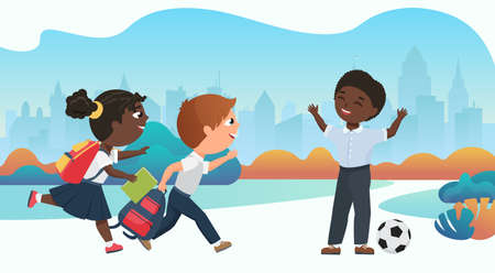 Happy children playing together in schoolyard vector illustration. Cartoon schoolchildren running to play ball after school lessons, funny diverse little girl boy child characters have fun background