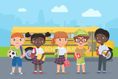 Happy kids stand on road in front of school bus vector illustration. Cartoon young schoolbus passengers travel to study, girl boy child holding ball, school bag and book, children go for knowledge