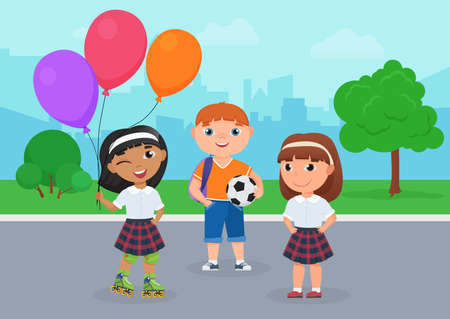Happy friends children in school uniform stand together in park vector illustration. Cartoon girl in roller skates holding balloons, boy holding ball to play football, kids friendship background