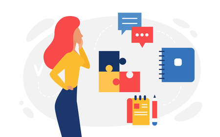 Logic thinking, abstract psychology concept vector illustration. Cartoon woman character thinks about missing piece of puzzle, lady looking for answer, online communication messenger windows icons