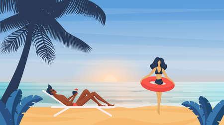 Couple people sunbathe on tropical summer sea beach vector illustration. Cartoon man in underwear swimsuit with cocktail sunbathing, bikini woman holding air mattress summertime vacation background Ilustração