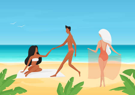 People in swimsuits on date, sunbathe and rest on summer sea tropical beach vector illustration. Cartoon young man character holding girls hand, dating and sunbathing on summertime vacation background
