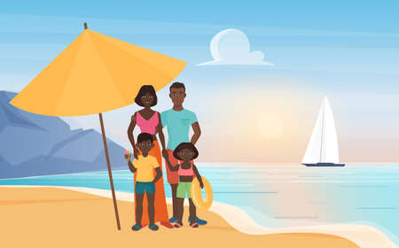 Family happy people stand under beach umbrella at tropical island paradise resort landscape vector illustration. Cartoon young mother father, daughter and son children characters standing together