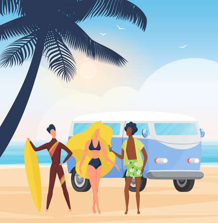 Surfer people with surfboards on summer sea beach party, surf extreme adventure vector illustration. Cartoon young man woman characters standing together in tropical coast landscape background