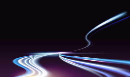 Long exposure fast car light trails on night city road vector illustration. Neon blue traffic light tails of speed auto transport vehicles, bright automobile flash lines on motorway dark background
