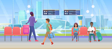Airport arrival waiting room or international departure lounge with people tourists vector illustration. Cartoon man woman passenger characters wait to fly by plane, sitting in chairs background Ilustração