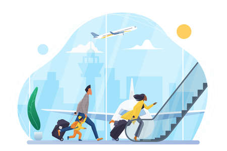 People hurry to board airplane in airport vector illustration. Cartoon family characters with suitcases run to escalator of departure hall terminal, passengers late for boarding isolated on white