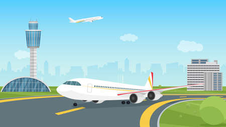 Airplane taking off from airport runway, passenger aircraft takeoff illustration. Cartoon landscape airport view with aeroplane on airfield, control traffic tower, city building silhouettes background