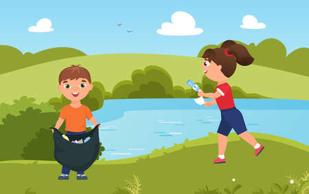 Children collect trash garbage, clean nature vector illustration. Cartoon cute team of volunteer boy girl characters cleaning green summer park together, friends gathering plastic rubbish bottles