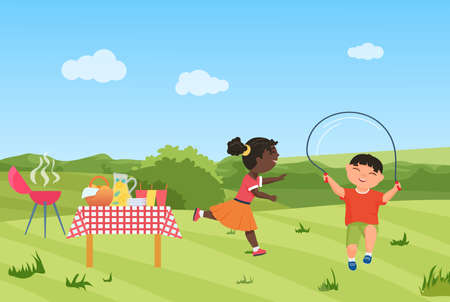 Happy children have fun on barbecue picnic party together vector illustration. Cartoon girl child running, boy character jumping rope, healthy sport activity in summer green garden or park background