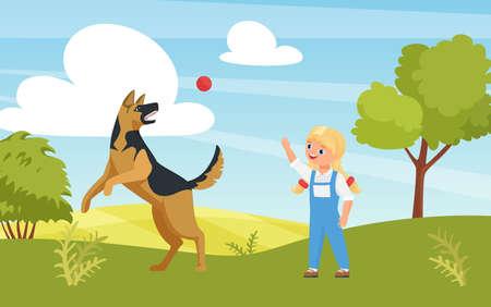 Happy girl playing fun game with dog in playground or summer nature park vector illustration. Cartoon cute kid character training puppy pet outdoor, animal pet friend jumping catching ball background