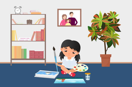Kid painting with brush, paints on palette vector illustration. Cartoon little girl artist character sitting on kindergarten floor, funny child painter drawing creative art with paintbrush background