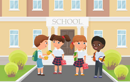 Happy kids in front of school building entrance, funny diverse group of students standing together vector illustration. Cartoon little girl boy child friend characters holding school bag and apple Ilustração