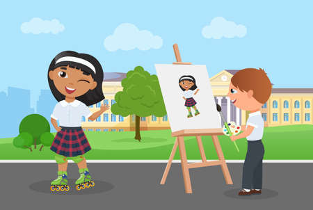 Children friends spend fun time together in park vector illustration. Cartoon young artist character holding paintbrush, palette with paints painting art portrait of girl in school uniform background Ilustração