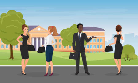 Office people talk, standing together in city park vector illustration. Cartoon multiethnic team of diverse professional corporate office workers employees talking, business communication background