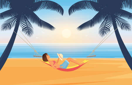 People relax and sunbathe on summer sea beach in tropical island vector illustration. Cartoon young woman character with hat sunbathing, lying in hammock, summertime travel vacation background