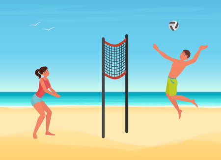 Couple people play volleyball on summer sea beach of tropical island vector illustration. Cartoon young woman man player character playing ball, jumping, summertime sport travel vacation background