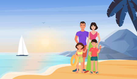 Family people on summer sea beach vacation vector illustration. Cartoon young mother father and children tourist characters standing together in tropical island paradise resort summertime background