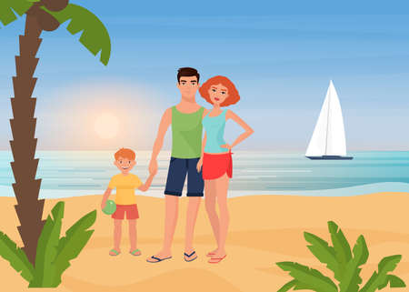 Family happy people enjoy tropical island paradise resort, sea beach vacation vector illustration. Cartoon young mother father and child characters standing together next to palm tree background
