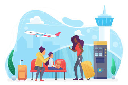 Airline transportation, people tourists wait flight in modern airport vector illustration. Cartoon family characters travel, waiting in lobby terminal hall with coffee machine isolated on white