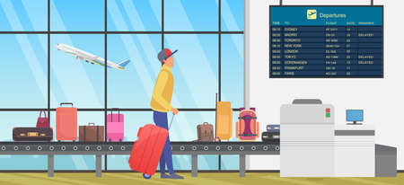Travel transfer in international airport, airline transportation vector illustration. Cartoon person with baggage looking at flight information timetable board, standing next to luggage conveyor belt Ilustração