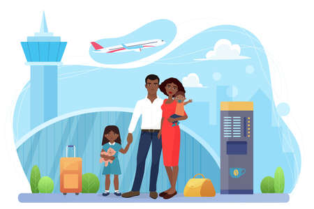 Family people travel, airline transportation vector illustration. Cartoon passenger mother father and children characters standing together in airport terminal, ready to fly by plane isolated on white
