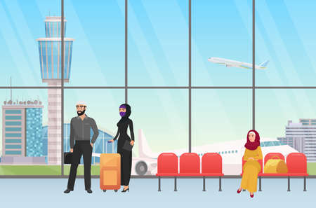Arab people waiting for flight in airport hall terminal departure interior with panoramic window vector illustration. Cartoon young muslim woman in hijab standing with personal baggage before travel