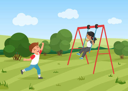 Happy children ride swing, preschool kids play in summer park together vector illustration. Cartoon funny little girl boy child characters playing fun game in playground, active exercise background