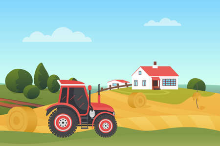 Harvesting in autumn landscape, modern farm tractor on wheat fields with haystacks vector illustration. Cartoon countryside village scenery, agricultural machine, farmhouse building on hill background