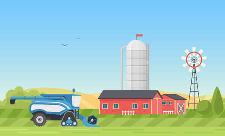 Grain silo tank storage, farm or modern ranch yard with farmhouse in village landscape vector illustration. Cartoon combine harvester working on green farmland field, harvesting, farming background