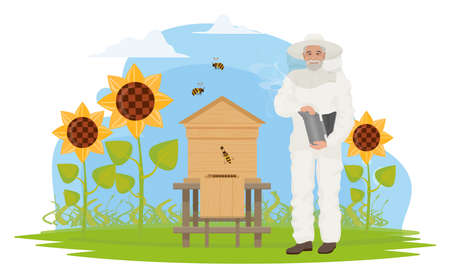Beekeeper people people work on apiary, honey production vector illustration. Cartoon elderly apiarist character beekeeping, holding honeycomb, standing near hive, sunflower garden isolated on white Ilustração