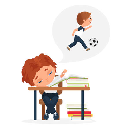 Children study hard, education problem of bored kid vector illustration. Cartoon tired boy child character sitting at school books and studying homework, dreaming of playing ball outdoors background