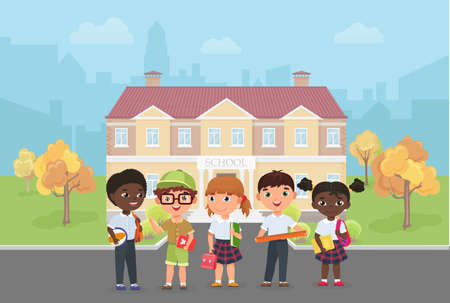 Children students stand in front of school building vector illustration. Cartoon diverse group of kids ready to learn and study, funny little girl boy child characters standing together background