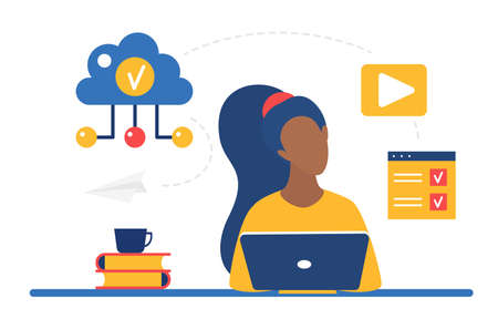Cloud storage system for business remote work vector illustration. Cartoon woman character working online with laptop, sitting at table, download and upload data information files via internet Ilustração