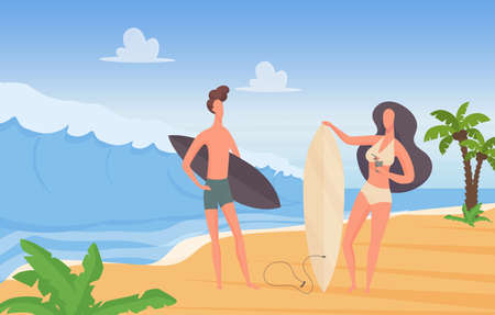 Surfer couple people with surfboards on summer sport, travel extreme vacation adventure vector illustration. Cartoon young man woman characters standing together at sunny seaside landscape background