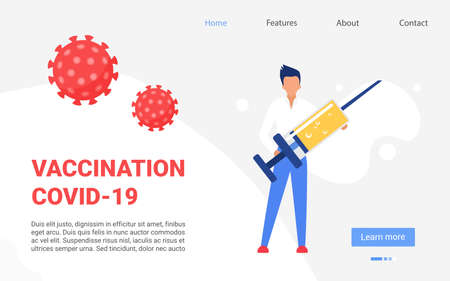 Vaccination, coronavirus prevention measure concept vector illustration. Cartoon doctor man character standing with big treatment syringe vaccine injection, medicine technology template background