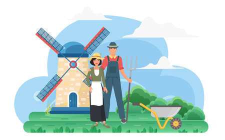 Farmer people in eco village rural landscape with windmill vector illustration. Cartoon agricultural workers couple standing together, man character holding pitchfork and wheelbarrow isolated on white