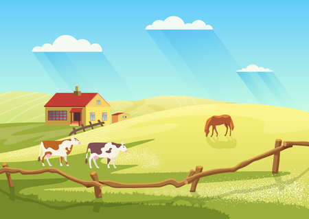Village dairy farm with cows, rural ranch countryside summer landscape vector illustration. Cartoon cow and horses animals, farmland cattle grazing on summer meadow field next to farmhouse background