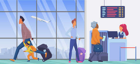 People in airport departure terminal vector illustration. Cartoon persons waiting in line to flight check in, father and child passenger characters with suitcase run for airplane gate background Ilustração