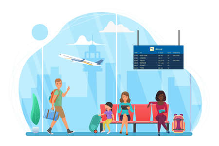 Happy people travel, wait at airport for trip flight vector illustration. Cartoon man tourist character walking, young mother with kid sitting on seats, woman reading in waiting area isolated on white