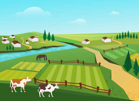 Cows graze in village countryside summer landscape vector illustration. Cartoon cow domestic animals grazing in green pasture, milk cattle farm, farmhouses and gardens, river scenery background Ilustração