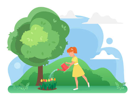 Girl watering flowers in farm garden, growing tulips plants vector illustration. Cartoon happy cute child gardener character planting, care nature environment, gardening hobby isolated on white Ilustração