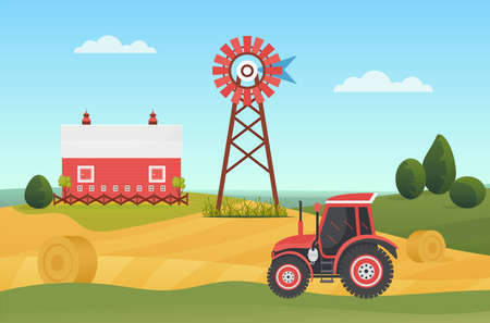 Farm agricultural tractor on village lands, countryside ranch landscape vector illustration. Cartoon agriculture machinery working on farmland field with haystacks, house barn on hill background